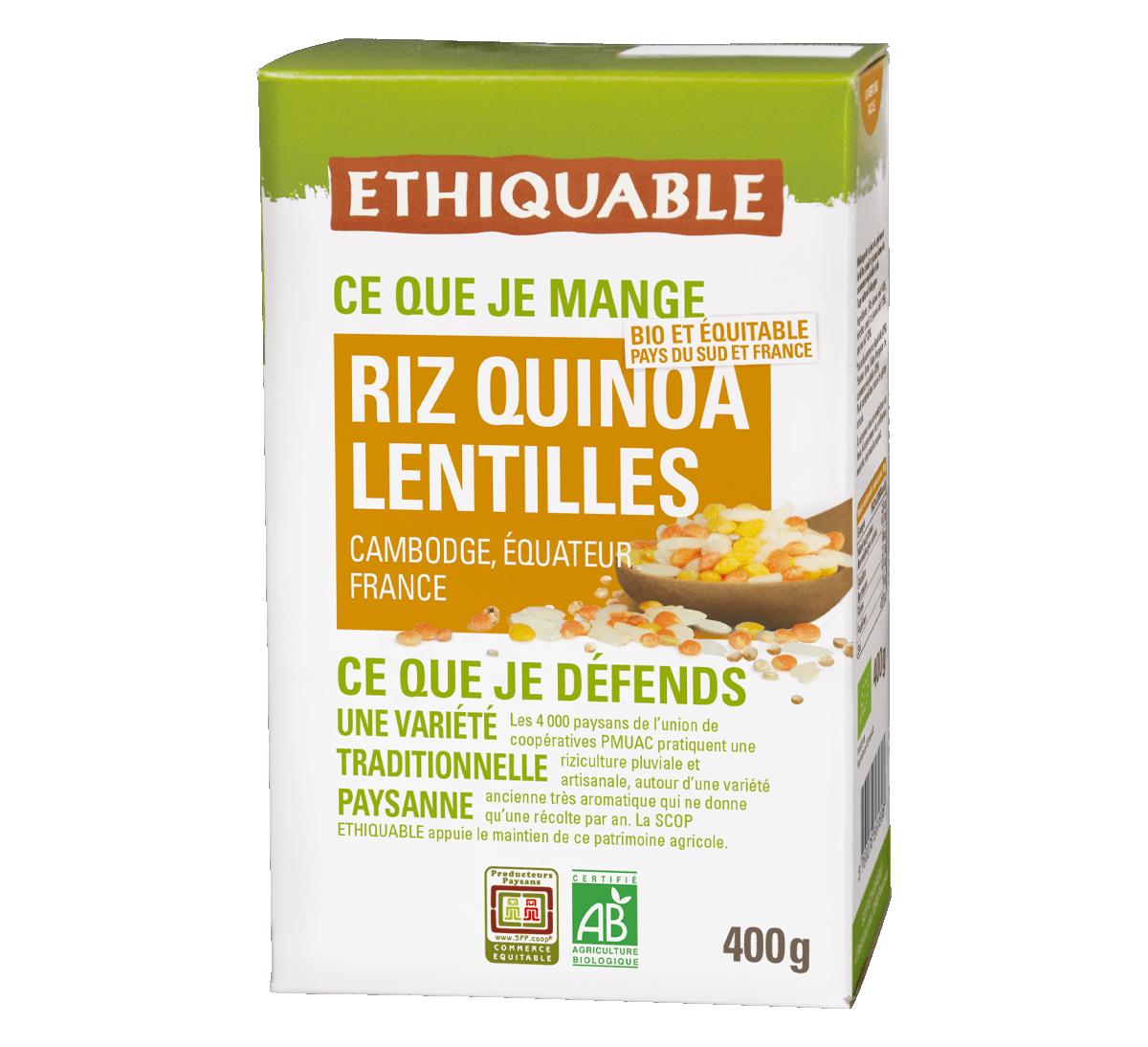 Mélange Riz, Quinoa et Lentilles bio issu du Commerce Equitable I Ethiquable