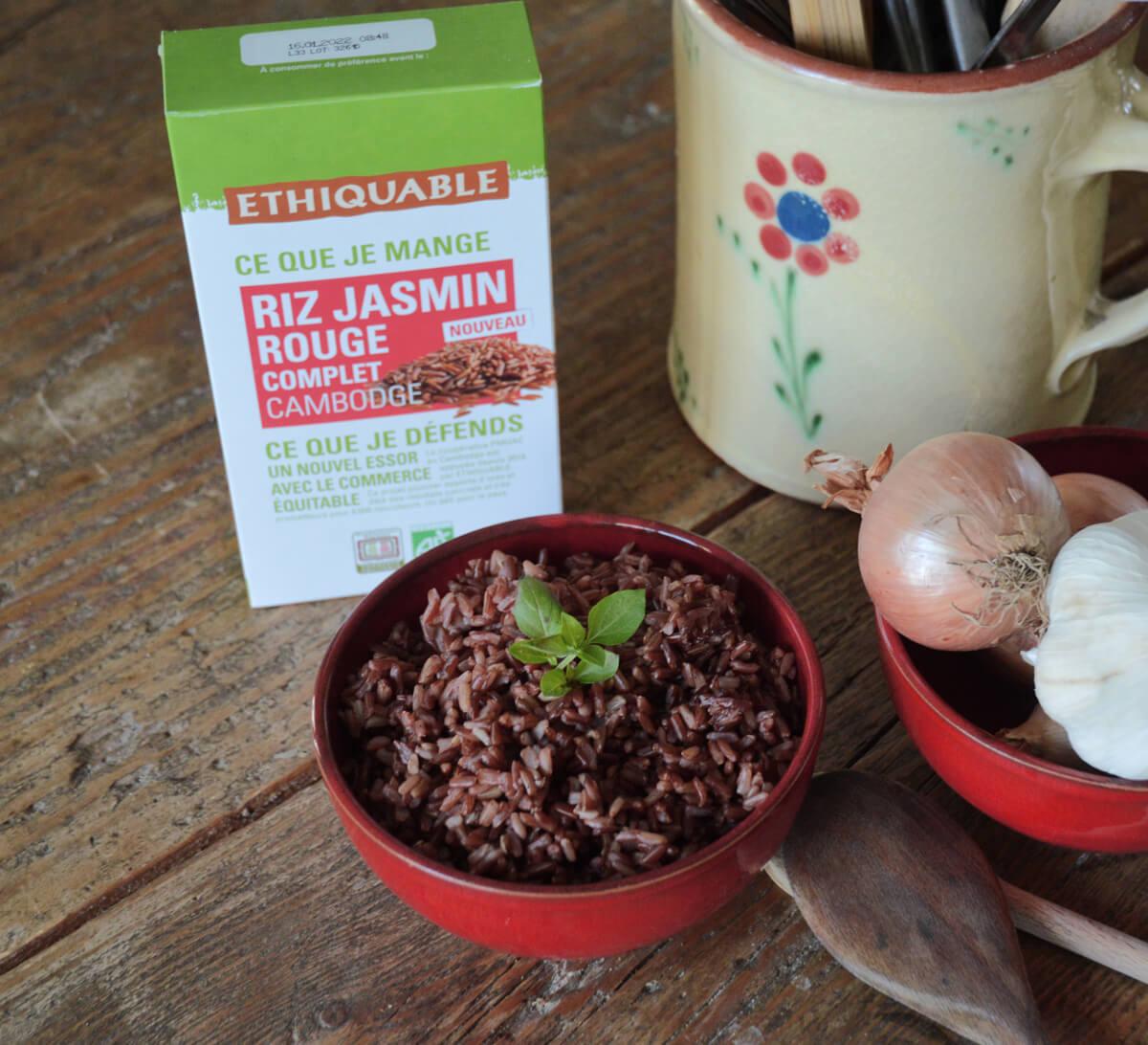 Riz jasmin rouge bio complet du Cambodge issu du Commerce Equitable I Ethiquable