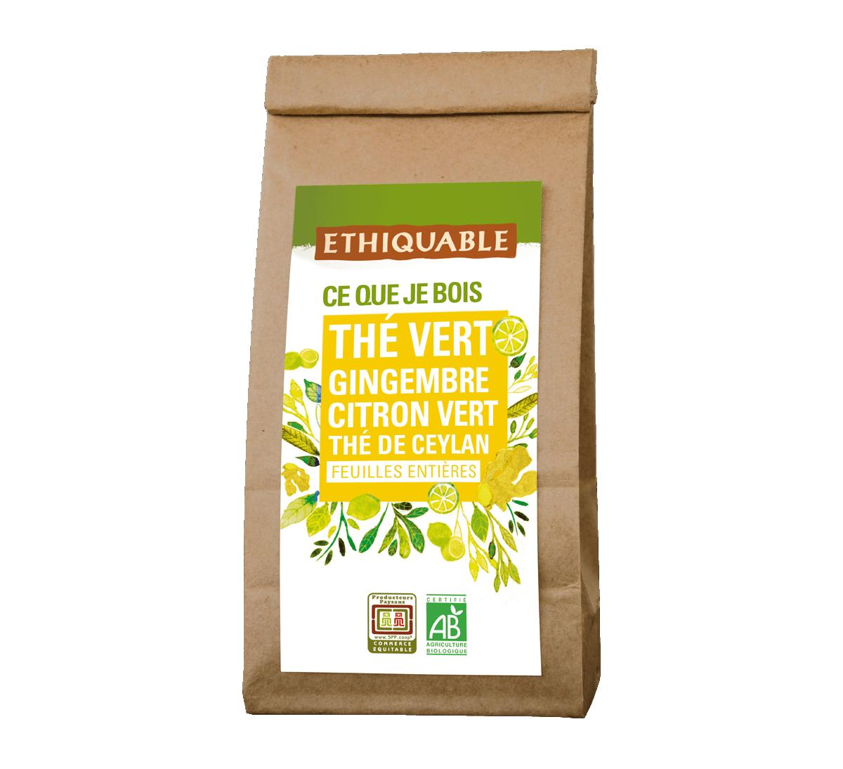 Thé vert Gingembre Citron vert bio en vrac issu du Commerce Equitable I Ethiquable