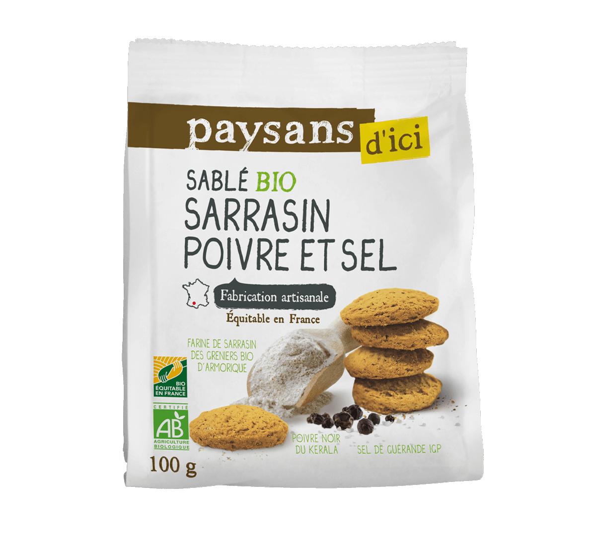 Sablé salé bio sarrasin, poivre & sel issus du Commerce équitable I Paysans d'Ici