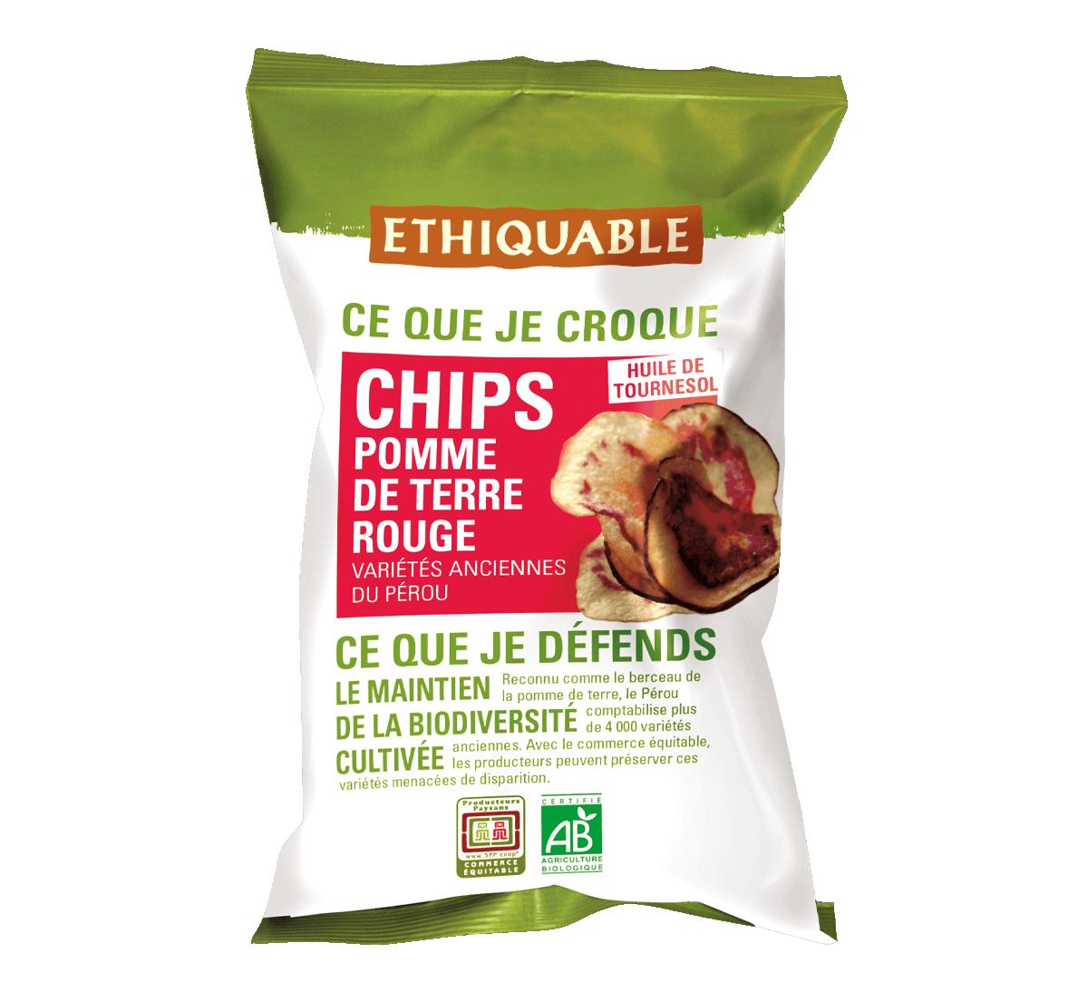 Ethiquable - Chips de pomme de terre rouge bio issues du Commerce Equitable