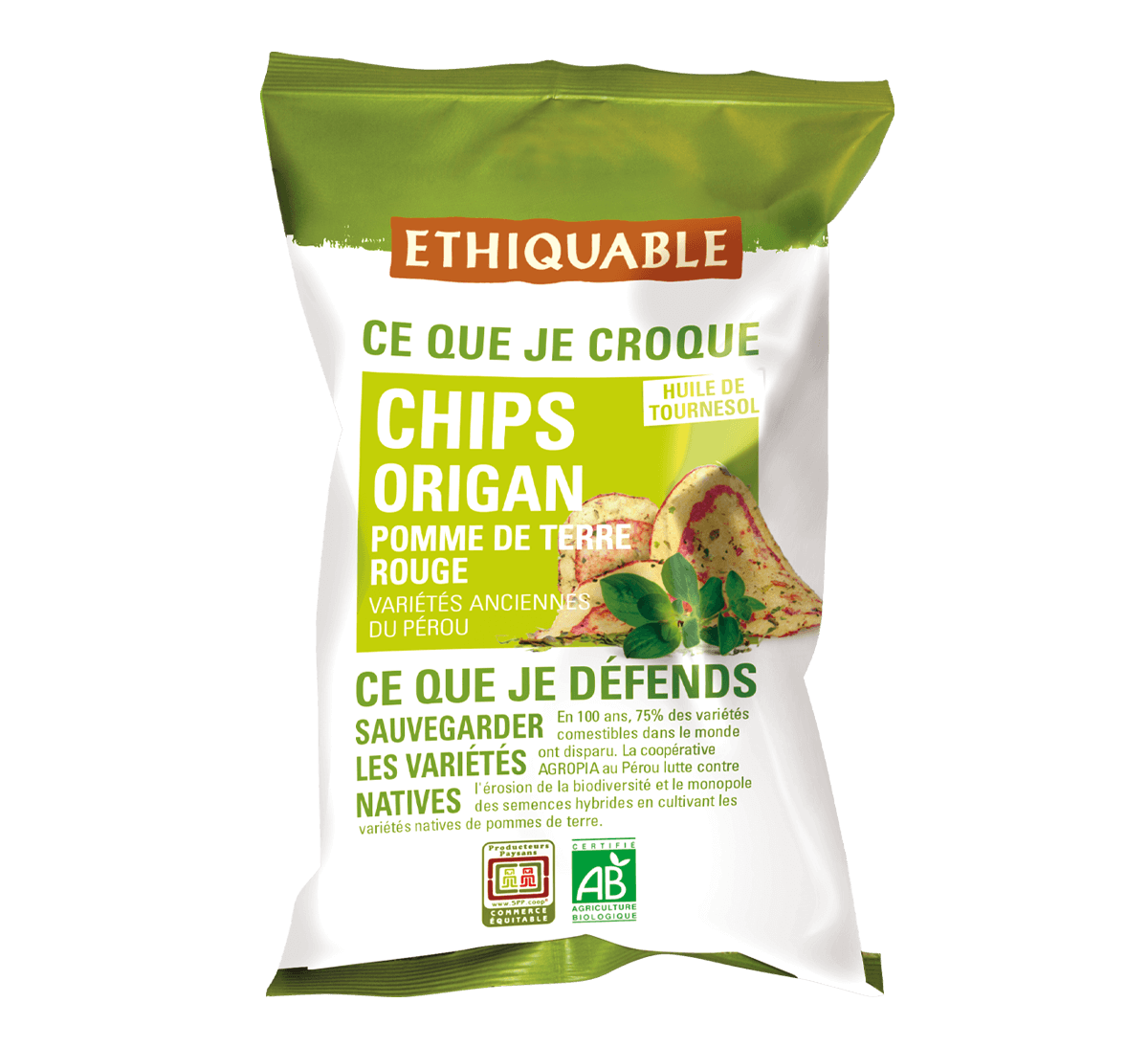 Ethiquable - Chips de pomme de terre rouge à l'origan bio, Commerce Equitable