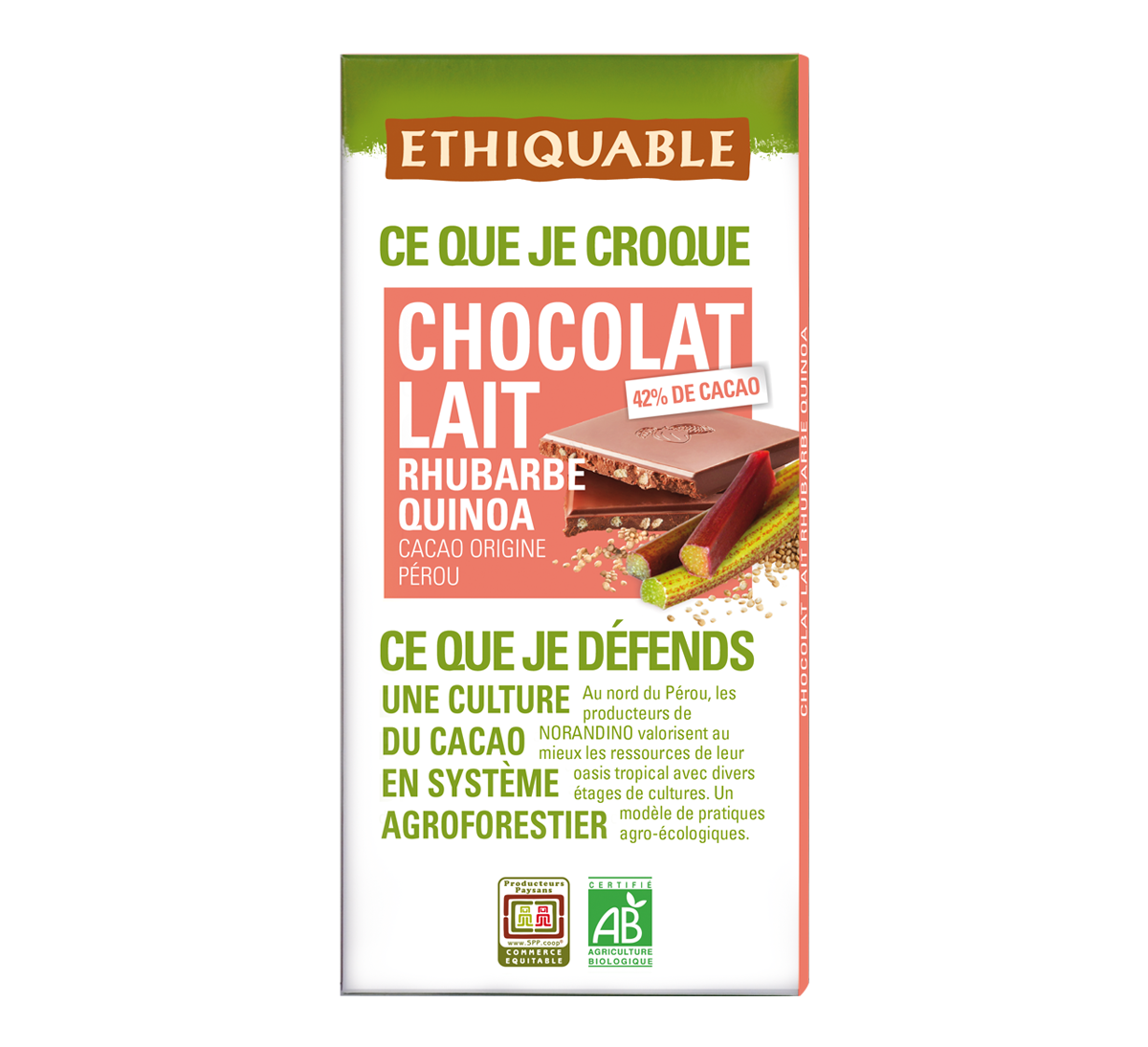 Ethiquable - Chocolat au lait bio 42% cacao Rhubarbe Quinoa issu du Commerce Equitable