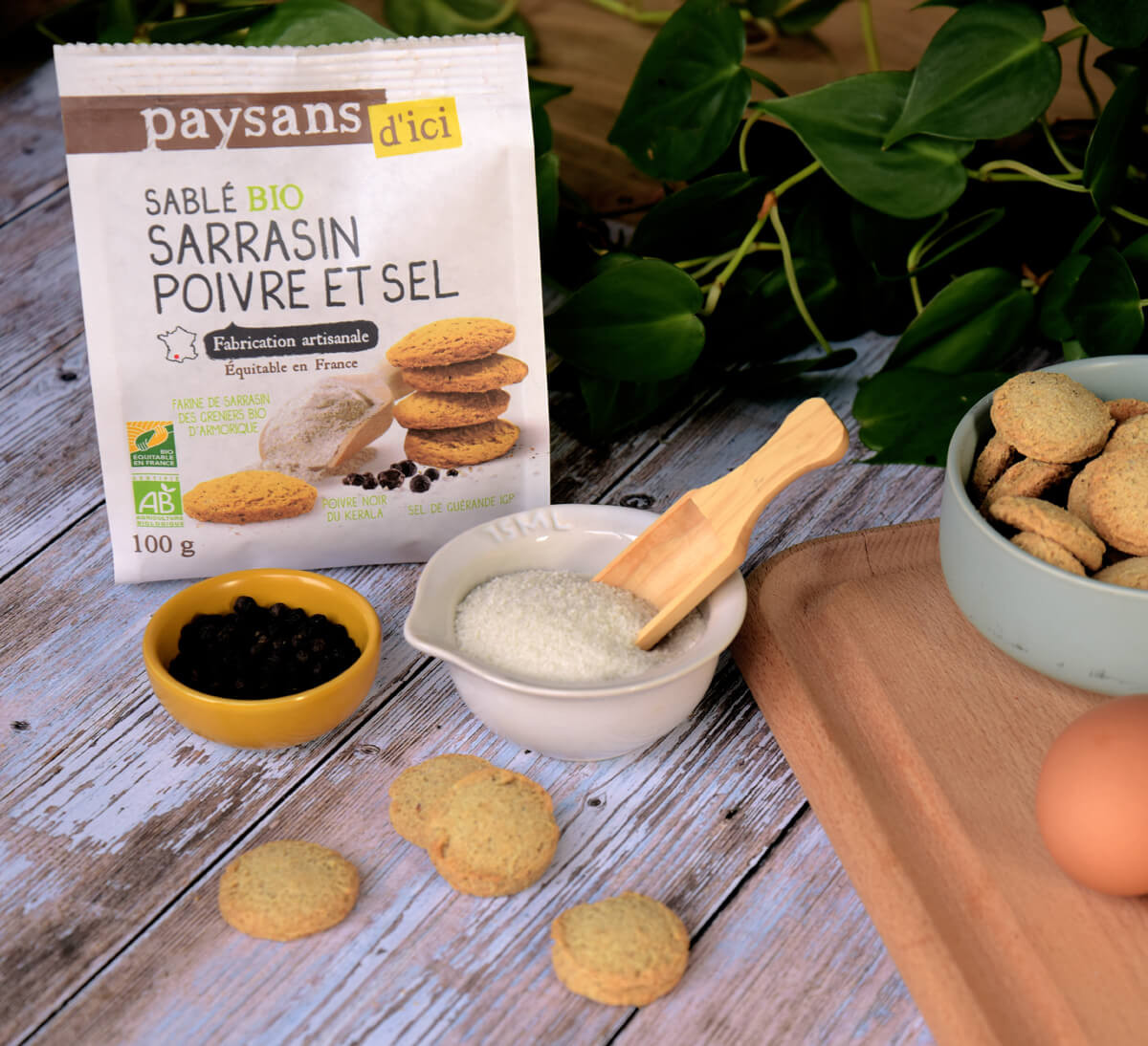 Paysans d'Ici - Sablé salé bio sarrasin, poivre & sel issus du Commerce équitable