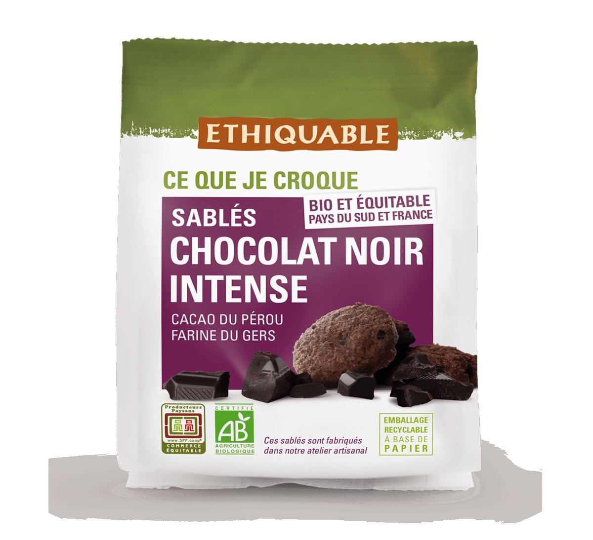 Ethiquable - Sablés bio au chocolat noir intense issus du Commerce équitable