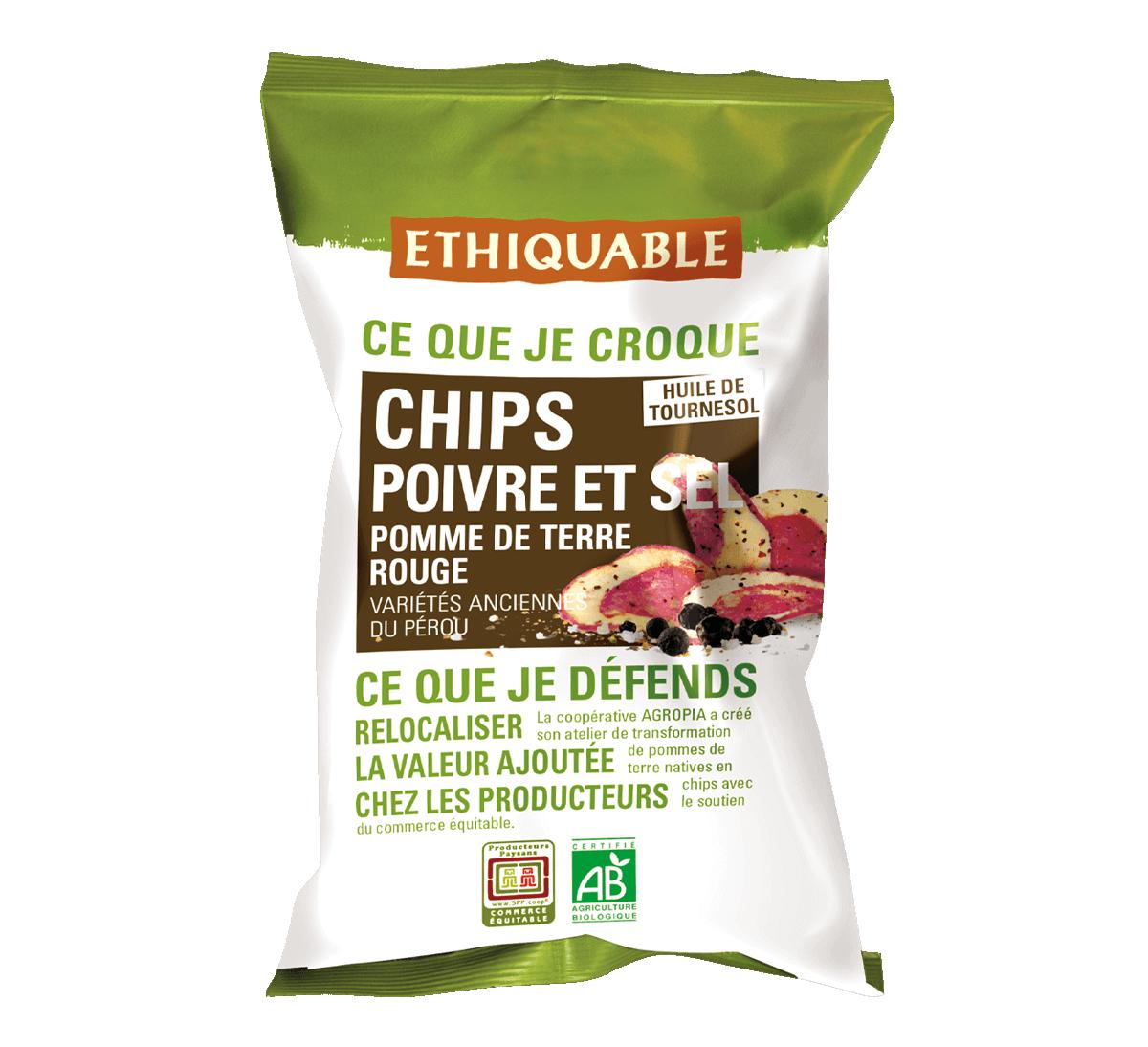 Ethiquable - Chips de pomme de terre rouge bio poivre & sel issues du Commerce Equitable