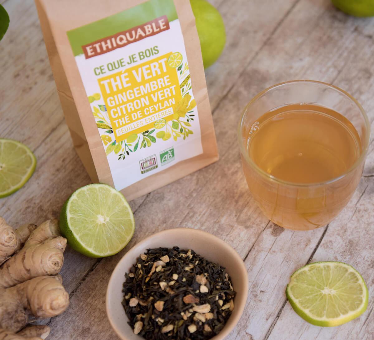 Ethiquable - Thé vert Gingembre Citron vert bio en vrac issu du Commerce Equitable