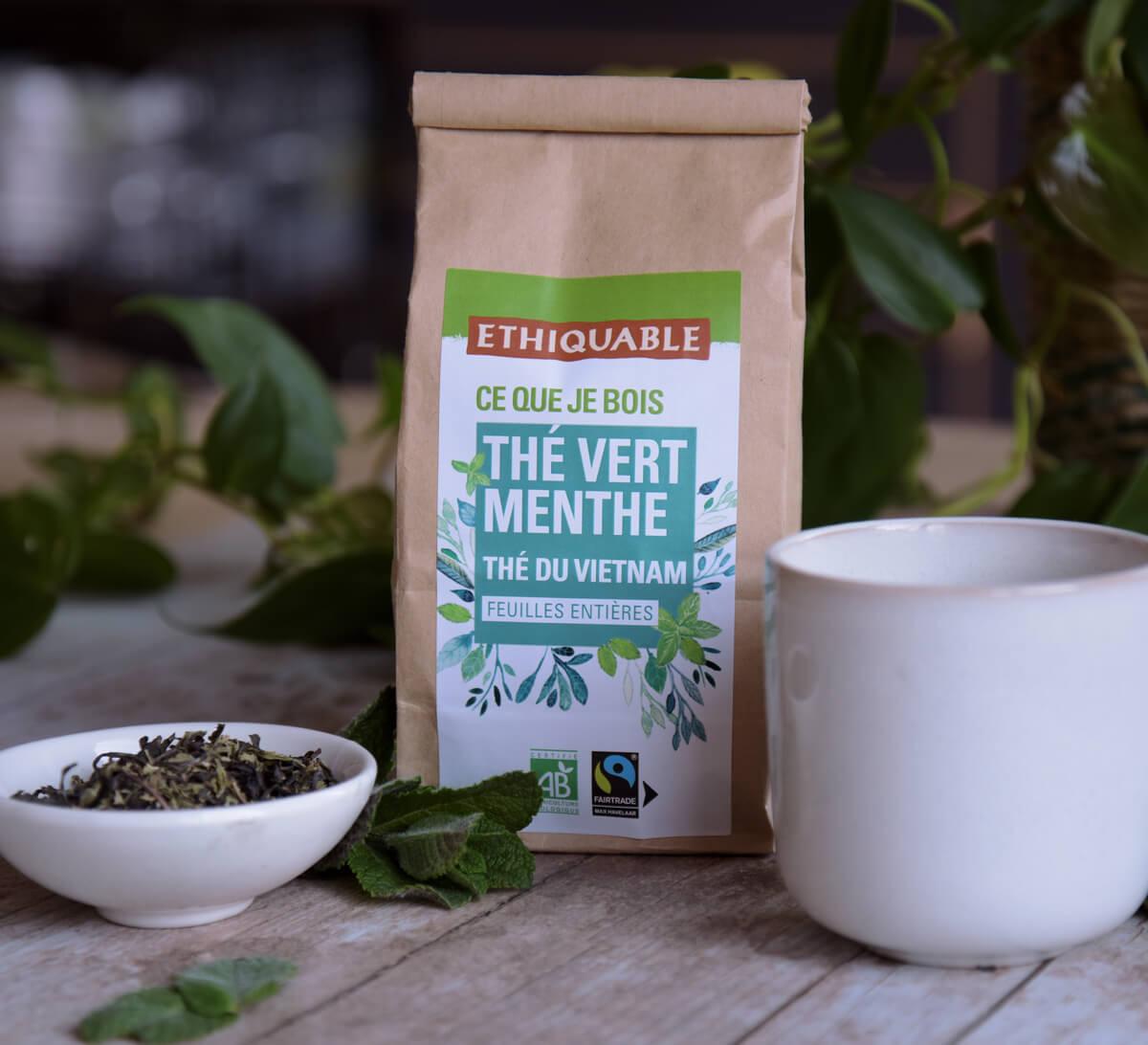 Ethiquable - Thé vert Menthe bio en vrac du Vietnam issu du Commerce Equitable