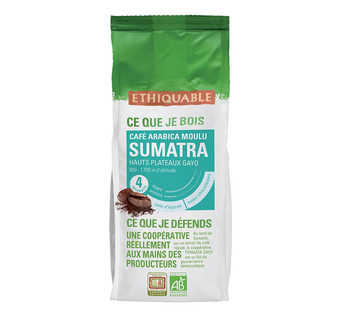 Arabica bio moulu Sumatra issu du Commerce Equitable I Ethiquable